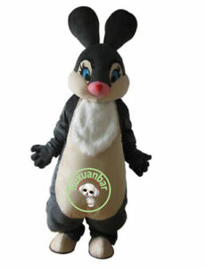 High Quality Black Easter Bunny Mascot Costume Adult Cartoon Character Cute Hare