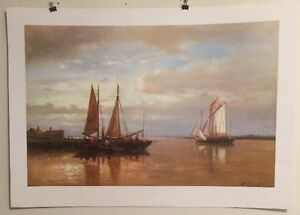 FINE ART LITHOGRAPH: Shipping Becalmed In A Bay By Abraham Hulk 34 X 24 $21.00