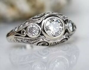 * STUNNING!! 18KT ART DECO VINTAGE STYLE BEZEL SET 1.10CTW DIAMOND RING! *