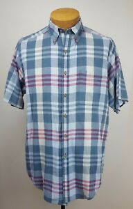 Brooks Brothers Sport Shirt Blue Red amp; Cream Short Sleeve Button Down Shirt M $14.99