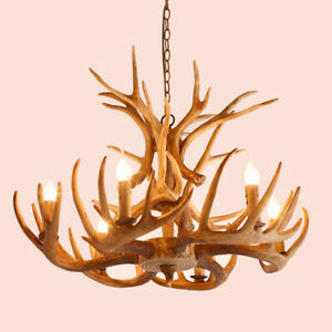 Cottage 6-Light Pendant Lights Kitchen Faux Deer Antler Resin Chandelier 110V