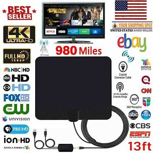 Amplified HD TV Antenna Free Channels 13ft Cable HDTV 4K VHFUHF Fox 350 miles