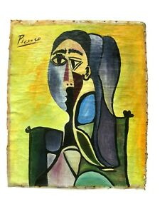 PABLO PICASSO STYLE CANVAS ARTWORK SIGNED PICASSO CHRISTIE#x27;S NY STAMP BEHIND $36999.99
