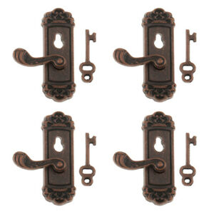 4 Pairs Dollhouse Miniature Right Door Handle Knobs 1:12 Hardware Fittings $8.26