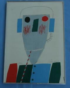 Illegibly Signed 1981 Lithograph of An Abstract Robot or a Man With Headphones? $199.00