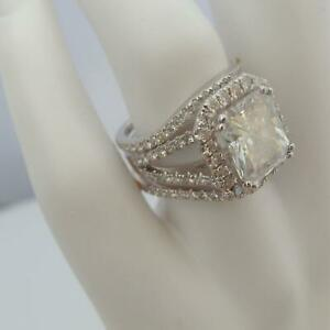 DIAMOND BANDS SET RING 6.25 CT 8 PRONGS WOMEN 18 KT WHITE GOLD SIZE 4.5 6 7.5 9