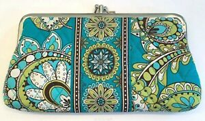 NEW VERA BRADLEY TURQUOISE & GREEN PEACOCK DOUBLE KISSLOCK CLUTCH WALLET PURSE