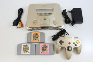 NINTENDO 64 Gold Console & Mario Party 1 2 3 Bundle N64 Import PLAY US JP GAMES