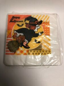 """Vintage """"HAPPY HALLOWEEN"""" Witch Napkins 7"""" x 7"""" American Greetings 1982"""