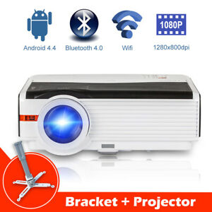 Android WiFi Home Theater Projector Bluetooth HD 1080p Video 8000Lms HDMI VGA TV