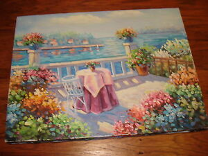 Seascape patio LANDSCAPE flowers original hand painted oil painting by Taylor