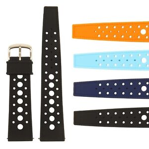 StrapsCo Retro Silicone Rubber Rally Dive Watch Band - Quick Release Strap