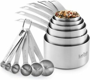 11 Piece Measuring Set Stainless Steel Stackable 6 Measuring Cups