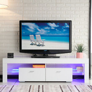 High Gloss White TV Stand Unit Cabinet with wLED Shelves 2 Drawers Furniture