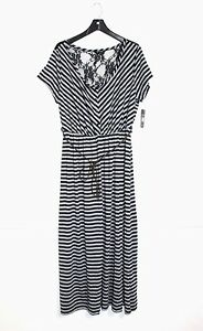 Just Love - Junior's Plus 2X - NWT - Gray & Black Striped Belted Knit Maxi Dress