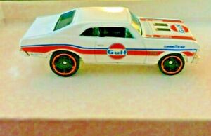 2019 HOT WHEELS '68 CHEVY NOVA ~ GULF  GOODYEAR ~ WHITE WITH ORANGE  ~ NEW