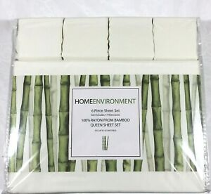 Ivory QUEEN or KING 6Pc Sheet Set 100% Silky BAMBOO Home Environment 4 Cases