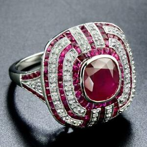 Pretty Art Deco Vintage Women's Ring With 3.80ct Center Ruby In 925 Pure Silver