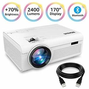 Projector Portable Bluetooth 2400 Lumens Mini Compatible With Fire TV Stick