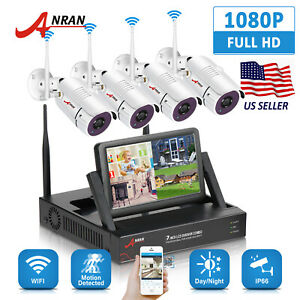 Wireless 4CH 1080P 7'' LCD NVR CCTV IP Outdoor Home Security Camera System Video