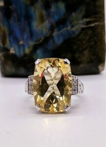 Pretty Rectangle 24.10ct Citrine Stone 925 Real Solid Silver Solitaire Fine Ring