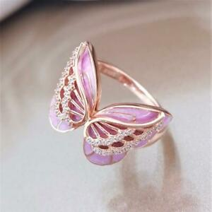 18K Rose Gold Plated Butterfly Pink Enamel White Topaz Ring Wedding Gift Sz5-10