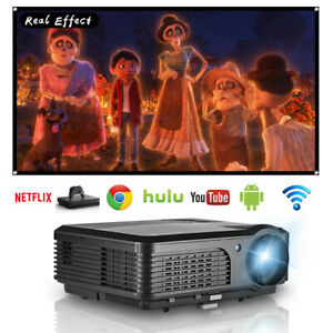Android WiFi Projector Home Theater LED Multimedia HD Movie Video HDMI USB VGA