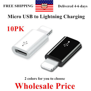 10pk Android Micro USB to 8 Pin Lightning Adapter for Apple iPhone 6 6S 7 8 UK