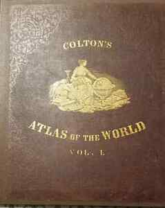 Colton's Atlas of the World Vol. I and II 1856 1st Ed. Antique Book of Maps!