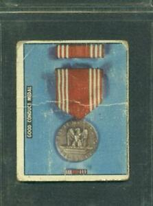 1950 TOPPS FREEDOM'S WAR # 193 GOOD CONDUCT MEDAL ARMED FORCES MEDALS TAN BK PR