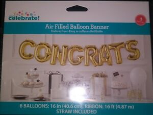 Congrats Air-Filled Balloon Banner with Ribbon, Gold, 16