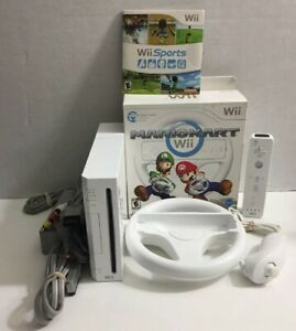 Nintendo Wii Console Complete Bundle W Mario Kart & Wii Sports + Wheel & More