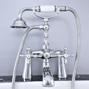 New Chrome Claw foot Bath Tub Faucet With Hand Shower Deck Mounted ftf768
