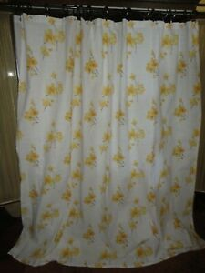 THRESHOLD YELLOW JAPANESE FLORAL FABRIC SHOWER CURTAIN 72 X 70 ASIAN ORIENTAL
