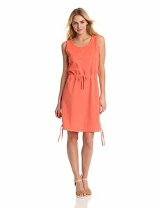 Woolrich - Women's L - NWT - Coral Orange Mixed Media Cotton Casual Tank Dress