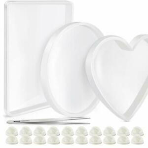 Oversized Resin Silicone Mold Set, Round, Rectangle, Heart Shaped Coaster Mold