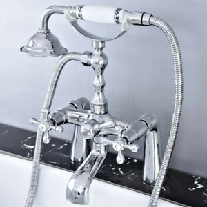 Polished Chrome Deck Mounted Bathtub Faucet Tub Mixer Tap Handheld Shower Ztf768