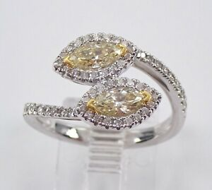 Marquise Canary Halo Diamond Bypass Ring 18K White Gold Size 6.5 Two Stone Ring $3450.00