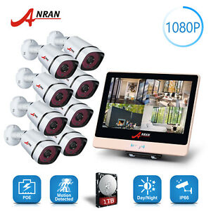 ANRAN HD 1080P POE Camera System Security Outdoor 8CH 12