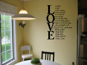 LOVE IS PATIENT LOVE IS KIND VINYL WALL DECAL HOME LETTERING WALL STICKER QUOTE