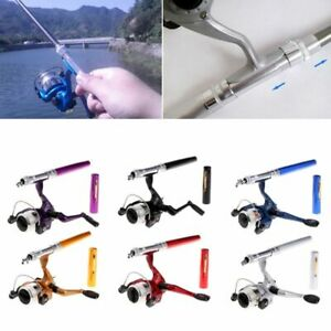 Portable Mini Aluminum Saltwater Baitcasting Fishing Rod Pole Reel Pocket Pen