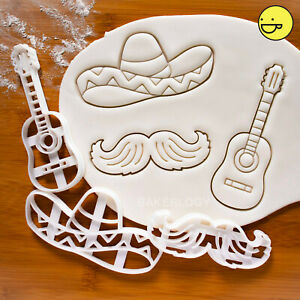 Set of 3 cookie cutters: Sombrero Hat Guitar & Mustache  Mexican cinco de mayo
