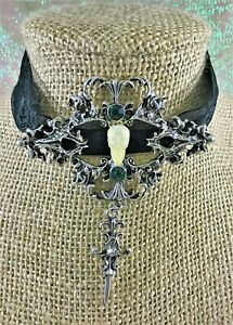 G50 Taxidermy Bat Skull Necklace Choker Jewelry Silver and Lace K. Picta