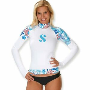 Scubapro Amber Rash Guard Women's Long Sleeve Floral Tropical Design Small NWT