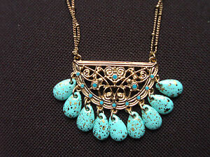 NWT COOKIE LEE DOUBLE STRAND TURQUOISE COLORED BEAD NECKLACE PENDANT #93453