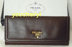 PRADA LONG STYLE WALLET NEW BOX + CARD FULL CALF LEATHER IN & OUT DARK CHOCOLATE