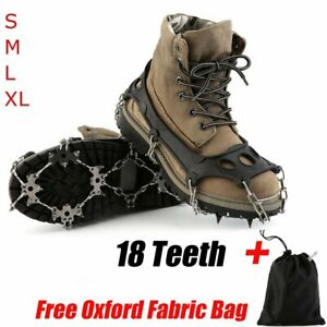 18 T Anti-Slip Ice Snow Climbing Shoe Covers Spike Cleats Crampons Gripper TO
