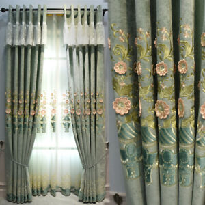 Customize Luxury curtain thick light shading blackout lining & transparent tulle
