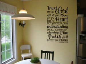 TRUST IN THE LORD PROVERBS 3:5 6 VINYL WALL DECAL QUOTE SCRIPTURE BIBLE VERSE $11.35
