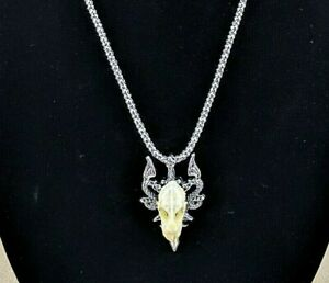 G60 Taxidermy Real Bat Skull Necklace Antiqued Silver Jewelry Thrones design